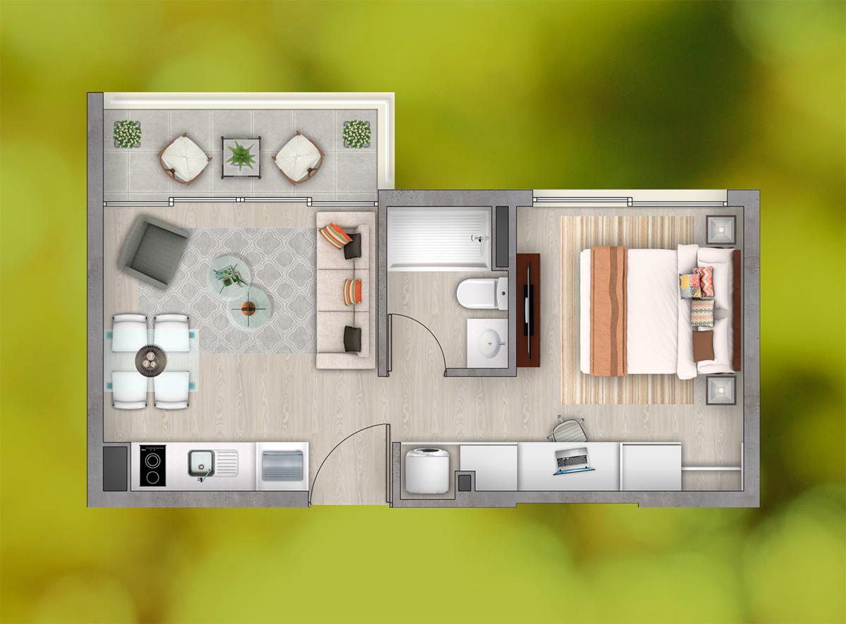 Depto. 1 Dormitorio - 1 Baño (a)