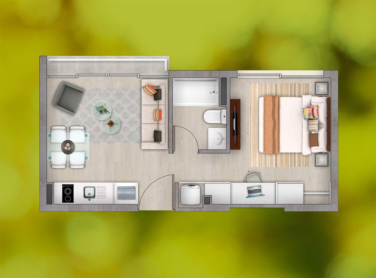 Depto 1 Dormitorio - 1 Baño (b)