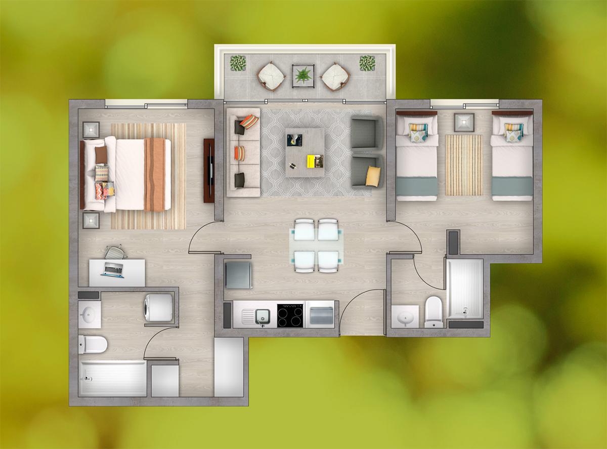 Depto. 2 Dormitorios - 2 Baños (a)