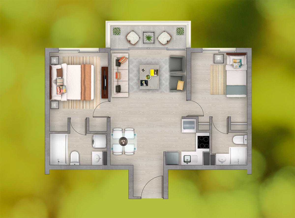 Depto. 2 Dormitorios - 2 Baños (c)